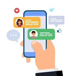 Chatting and messaging. Man and woman chatting on smartphone. hand holding mobile phone with text messages. Flat vector illustration.