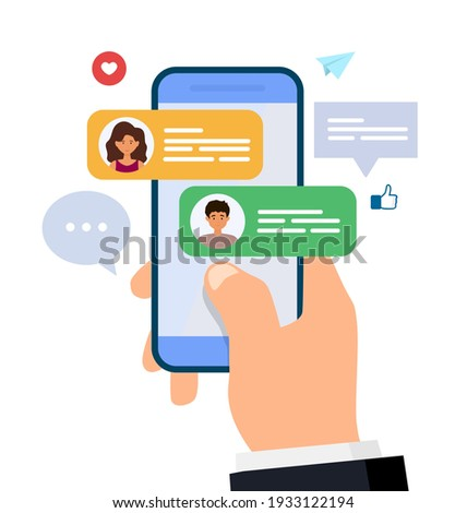 Chatting and messaging. Man and woman chatting on smartphone. hand holding mobile phone with text messages. Flat vector illustration. Stock photo ©