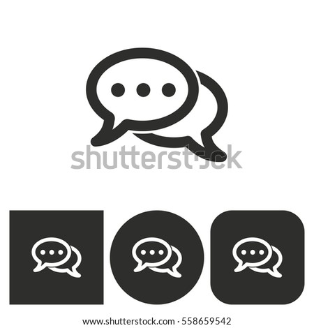Chatting - black and white icons. Vector illustration.