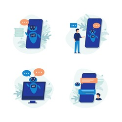 Chatting bot. Set of modern flat design people icons of chat bot, robot, speak, phone, customer service, personal assistant, chatbot.