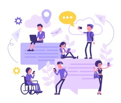 Chatting friends communication with smartphone. Group of people exchange message online, sending photo on internet, giant speech bubble, cloud symbol. Vector abstract illustration, faceless characters