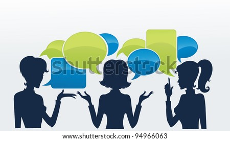 chatting girls, vector set of girls silhouettes with speech bubbles