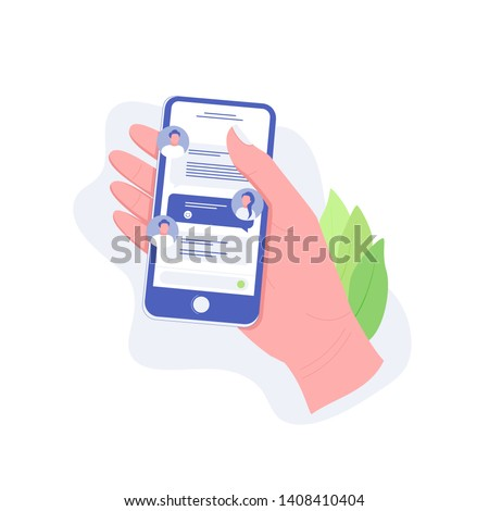 Chatting on smartphone, online conversation with texting message concept. Hand holds smartphone with chat messages. Messaging using mobile phone. Trendy flat style. Vector illustration.