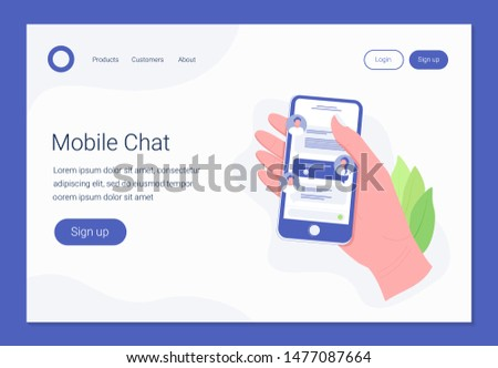 Chatting on smartphone, online conversation with texting message concept. Hand holds smartphone with chat messages. Messaging using mobile phone. Landing page template. Trendy flat style. Vector.