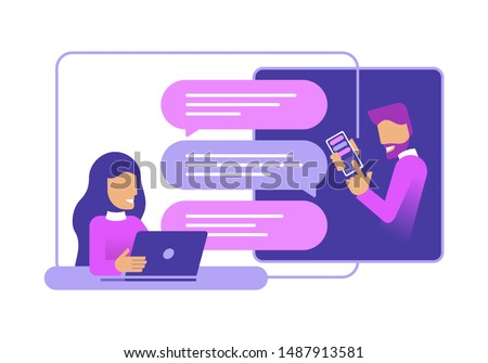 Chatting people - chat messages betweeb woman with laptop and man with smartphone flat cartoon sms bubbles (message boxes) - isolated vector illustration