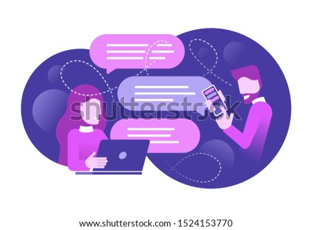 Chatting people - chat messages betweeb woman with laptop and man with smartphone flat cartoon sms bubbles (message boxes) - abstract background - isolated vector illustration