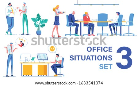 Chatting with Colleague During Small Coffee Break. Woman Assistant Bringing Hot Coffee to Employees in Conference Room, Gathered for Planning Meeting. Workmates Talking Over Despotic Lady Boss.