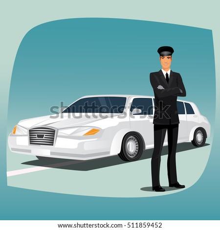 chauffeur  driver of luxury car
