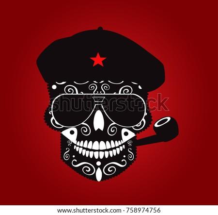 Che guevara skull vector illustration