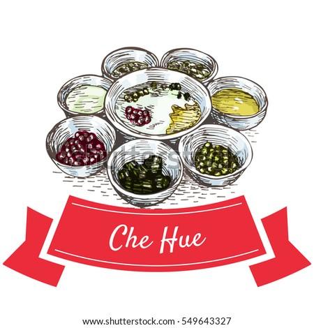 Shutterstock Che Hue colorful illustration. Vector illustration of Vietnamese cuisine.
