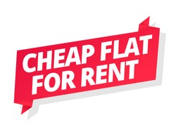 Cheap flat for rent. Word on red ribbon headline. Red tape text title. Real estate property rental. Vector flat color Illustration .