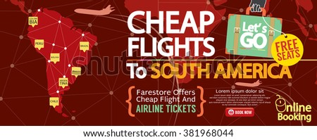 Cheap Flight To South America 1500x600 Banner Vector Illustration