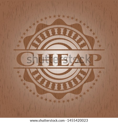 Cheap realistic wood emblem. Vector Illustration.