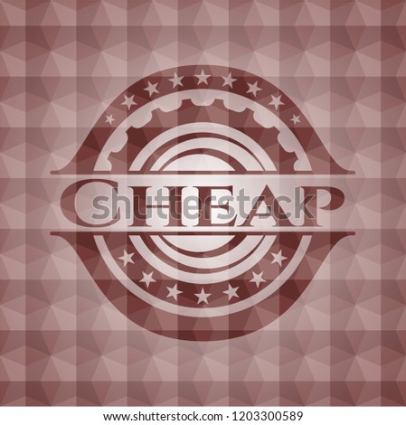 Cheap red badge with geometric background. Seamless.