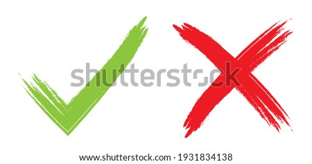 Check and cross marks. Green check mark and red cross, yes or no icon. Vector illustration isolated on white background.  ストックフォト ©