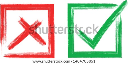 check and Cross sign elements. vector buttons for vote, election choice, tick marks, approval signs design. Red X and green OK symbol icons check boxes. Check list marks, choice options, survey signs. Photo stock ©