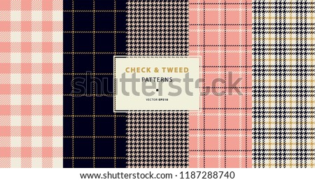 Check and tweed seamless patterns set with golden and pink. High quality precise seamless patterns