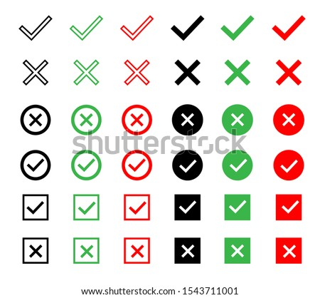 Check and wrong icons set of check marks. Green tick, red cross, black tick and cross. Vector icons.