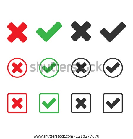 check and wrong icons. set of check marks. Green tick, red cross. yes or no, accept and decline symbol. Check mark OK and X icon for web and mobil app
