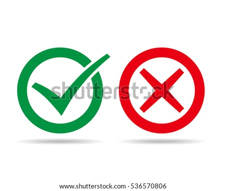 Check and wrong marks. Vector illustration. Green check mark and cross mark, in circle on white background.