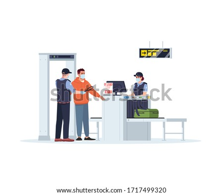 Check before boarding plane semi flat RGB color vector illustration. Security border control during pandemic. Woman check baggage. Airport staff isolated cartoon characters on white background