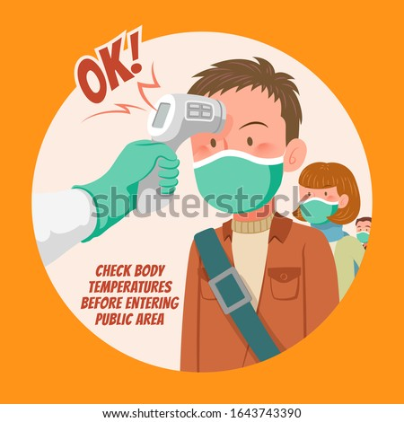 Check body temperature before entering public area to fight against coronavirus in flat style, COVID-19 strategy