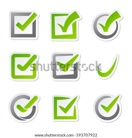 Check box icons of vote mark web sign choice yes symbol and correct design right agreement voting form button question choose success graphic vector illustration.