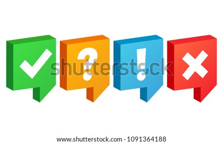 Check box icons set. Tick and cross, question mark, exclamation point. Vector illustration.