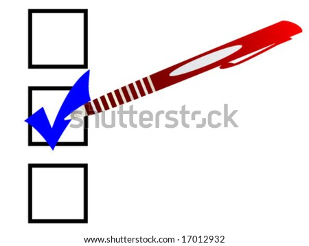 Check-box with pen- vector illustration