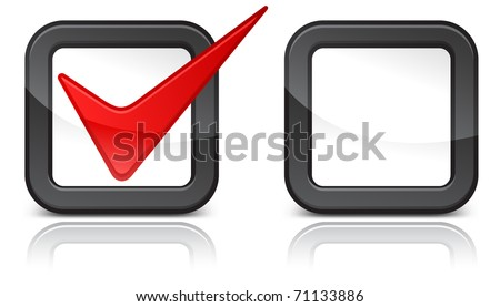 Check-box with red check-mark isolated on white background, vector illustration