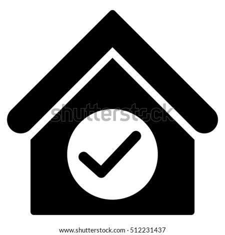 Check Building vector icon. Flat black symbol. Pictogram is isolated on a white background. Designed for web and software interfaces.
