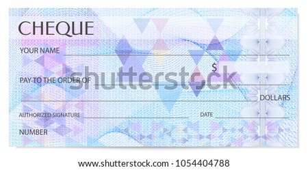 Check (cheque), Chequebook template. Guilloche pattern with abstract watermark, spirograph. Background for banknote, money design, currency, bank note, Voucher, Gift certificate, Coupon, ticket