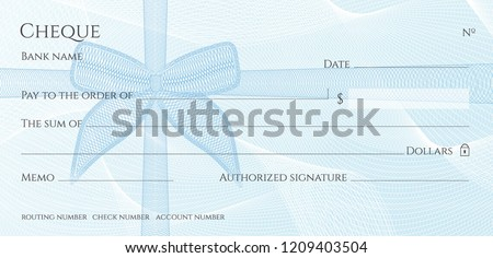 Check, Cheque (Chequebook template). Guilloche pattern with blue bow watermark. Background hi detailed for banknote, money design, currency, bank note, Voucher, Gift certificate, Money coupon