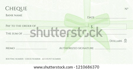 Check, Cheque (Chequebook template). Guilloche pattern with green bow (ribbon) watermark. Background hi detailed for banknote, money design,currency, bank note, Voucher, Gift certificate, Money coupon