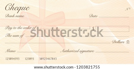 Check, Cheque (Chequebook template). Guilloche pattern with red bow watermark. Background hi detailed for banknote, money design, currency, bank note, Voucher, Gift certificate, Money coupon