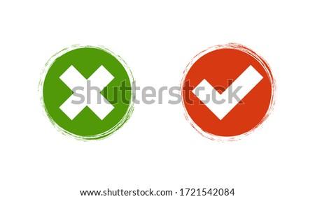 Check cross mark on brush background. Flat icon isolated vector illustration ストックフォト ©