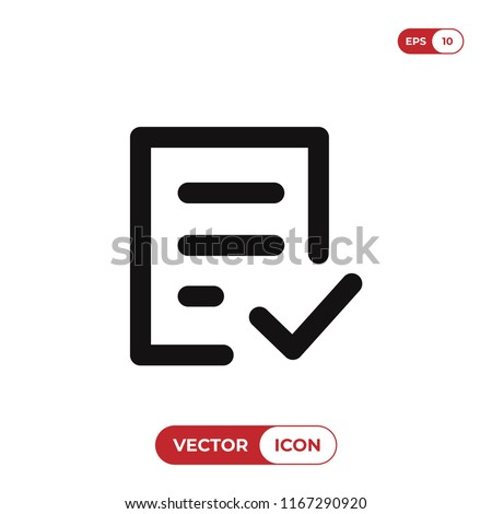 Check form vector icon. Checked symbol. Approve pictogram, flat vector sign isolated on white background. Simple vector illustration for graphic and web design.