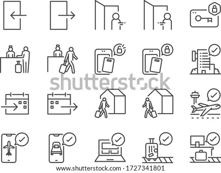 Check-In and Check-Out line icon set. Included icons as arrival, booking, departure, trip,hotel, flight and more. Stok fotoğraf ©