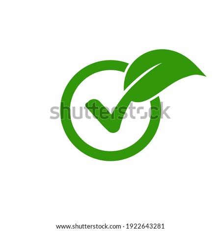 Check leaf logo vegetarian quality ecology vegan green eco element organic symbol Сток-фото ©