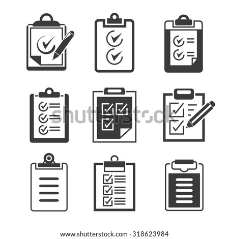 check list and clipboard icons