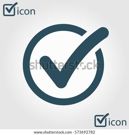 Check list button icon. Check mark in round sign.