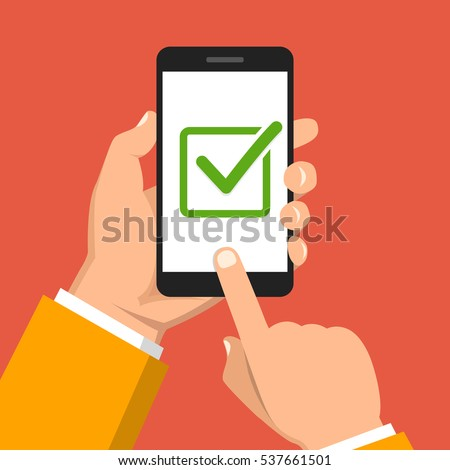 Check list button on smartphone screen. One hand holds smartphone and finger touch screen. Flat vector illustration.