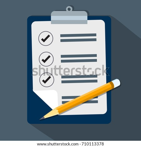 Check list,Clipboard and pencil, concept for business, flat design style-Vector Illustration