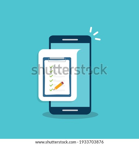 Check list document on smartphone, smartphone with paper check list and to do list with checkboxes, concept of survey, online quiz, completed things or done test, feedback.