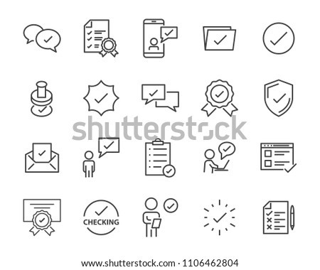 check list icon set, stamp icon, approval related #1106462804