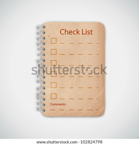Check list Old Notebook Vector