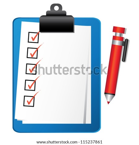 check list on clipboard, vector