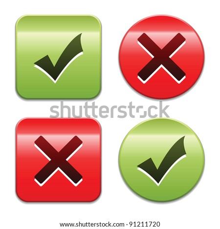 Check mark buttons. Vector illustration.