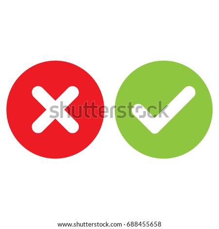check mark, cross mark isolated vector