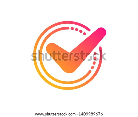 Check mark icon. Accepted or Approve sign. Tick symbol. Classic flat style. Gradient confirmed icon. Vector